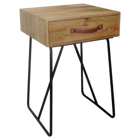 Threshold™ Single Drawer Wood And Metal Accent Table