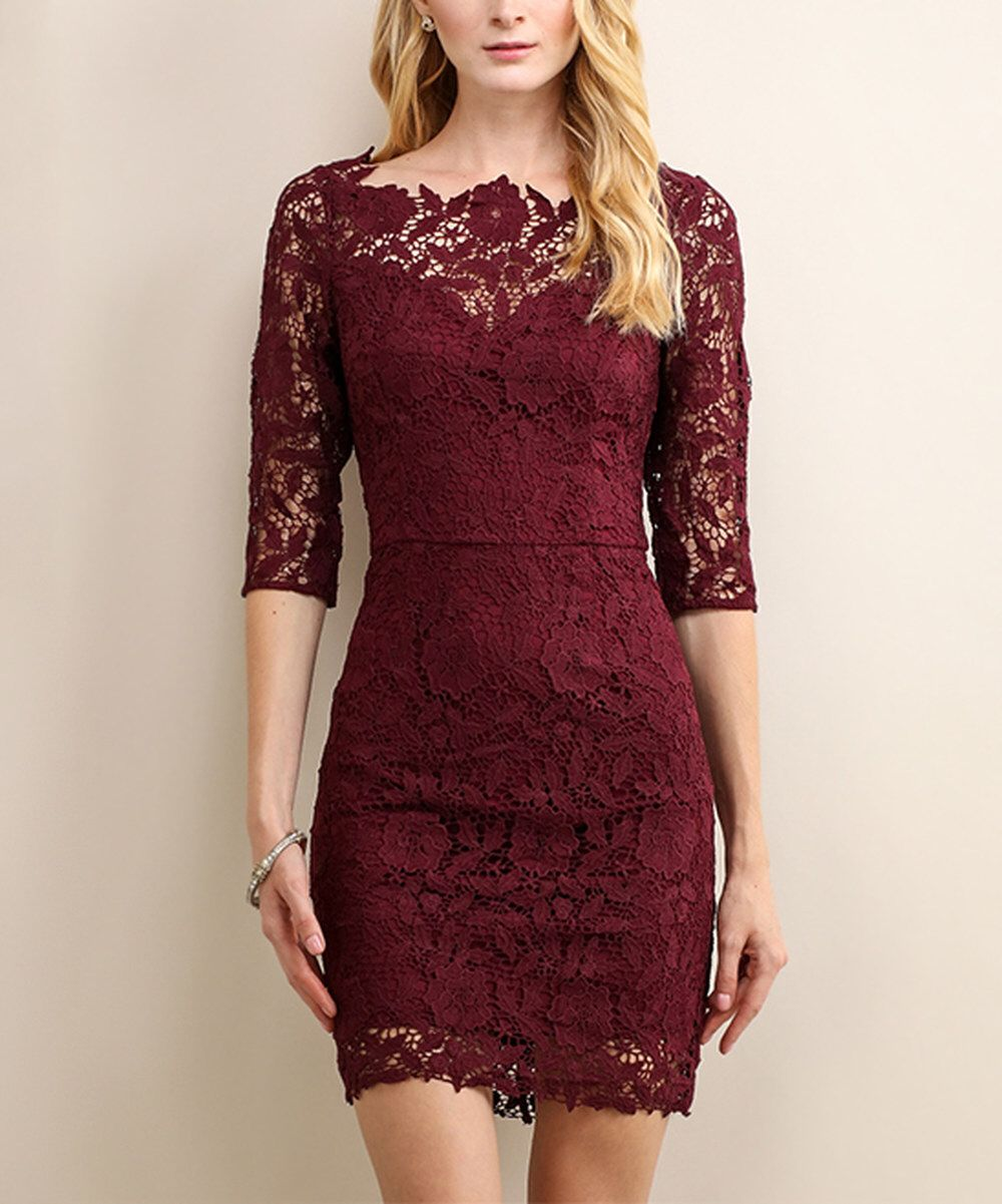 Look At This Soieblu Sangria Wine Floral Lace Three Quarter Sleeve Dress On Zulily Today Three Quarter Sleeve Dresses Lace Dress Lace Dress With Sleeves