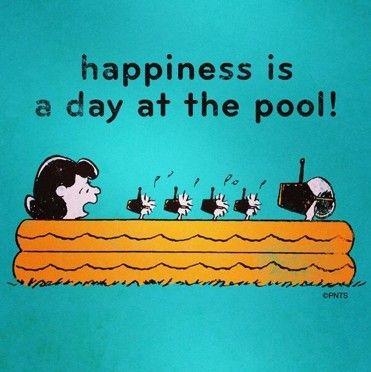 Happiness is a day at the pool peanuts summer baseball for Swimming pool quotes