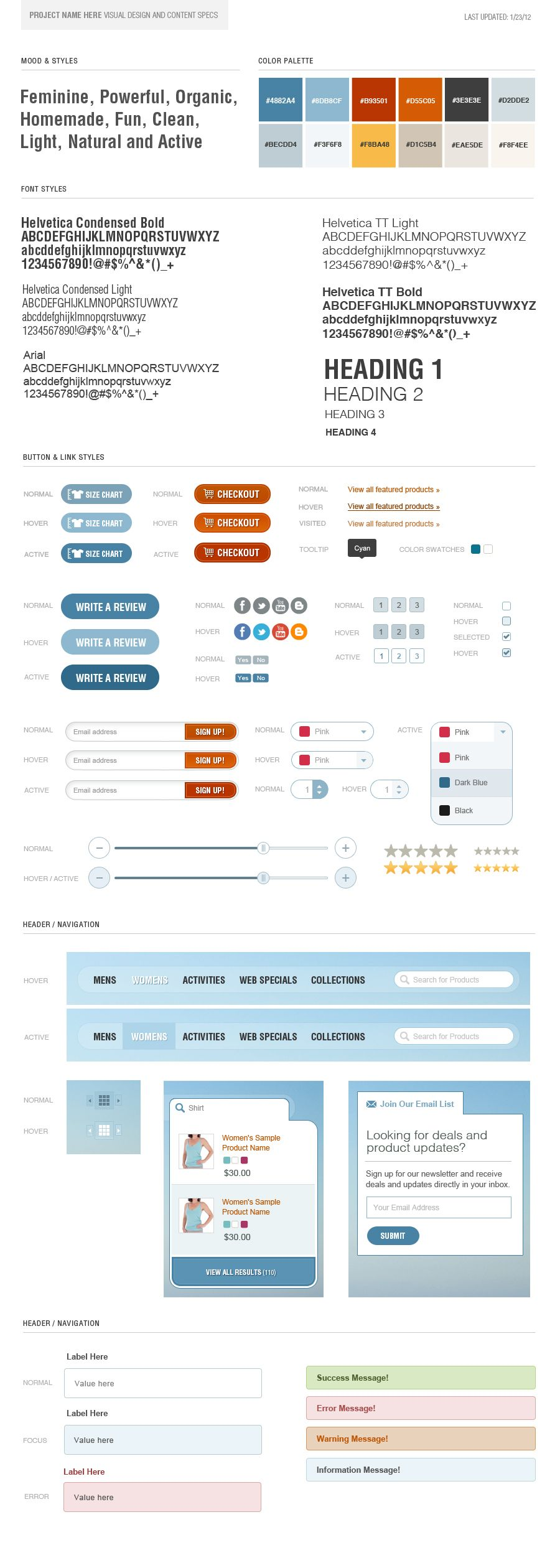 Example Style Guide. Help Clients Keep Your Site Design Something You Want  In Your Portfolio