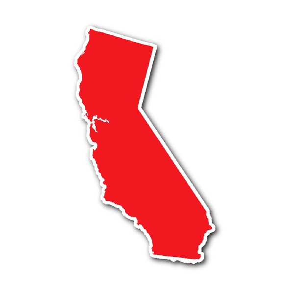 California State Shape Sticker Outline Red State Shapes California State California