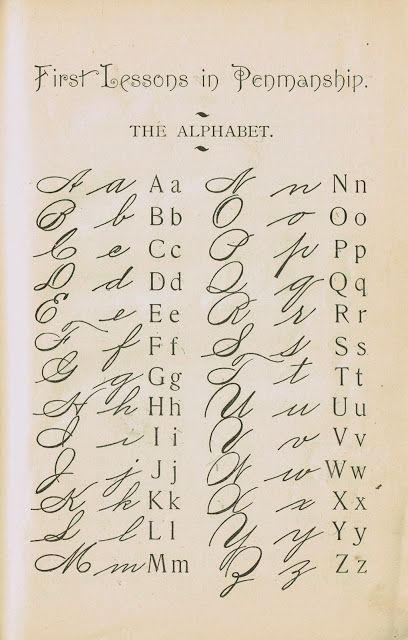 digital download 1895 school primer penmanship page typography