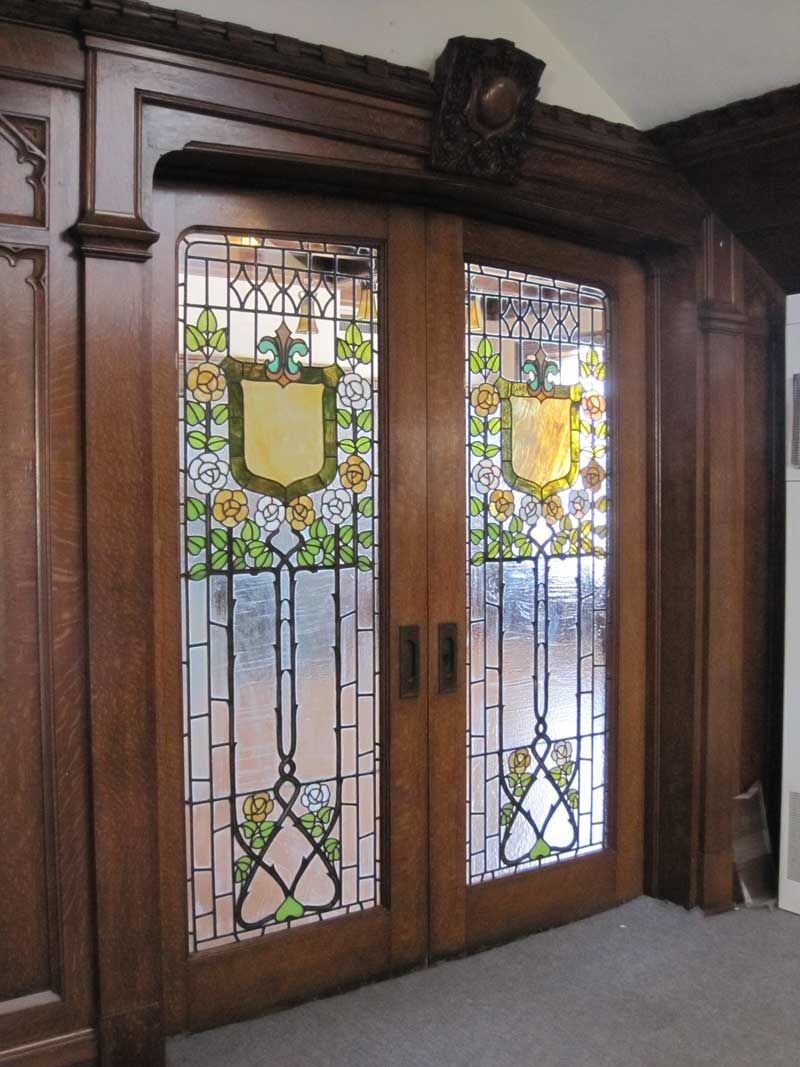 By Bookcases For More Than 60 Years The Beautiful Leaded And Stained Glass Doors Were In Near Original Condition