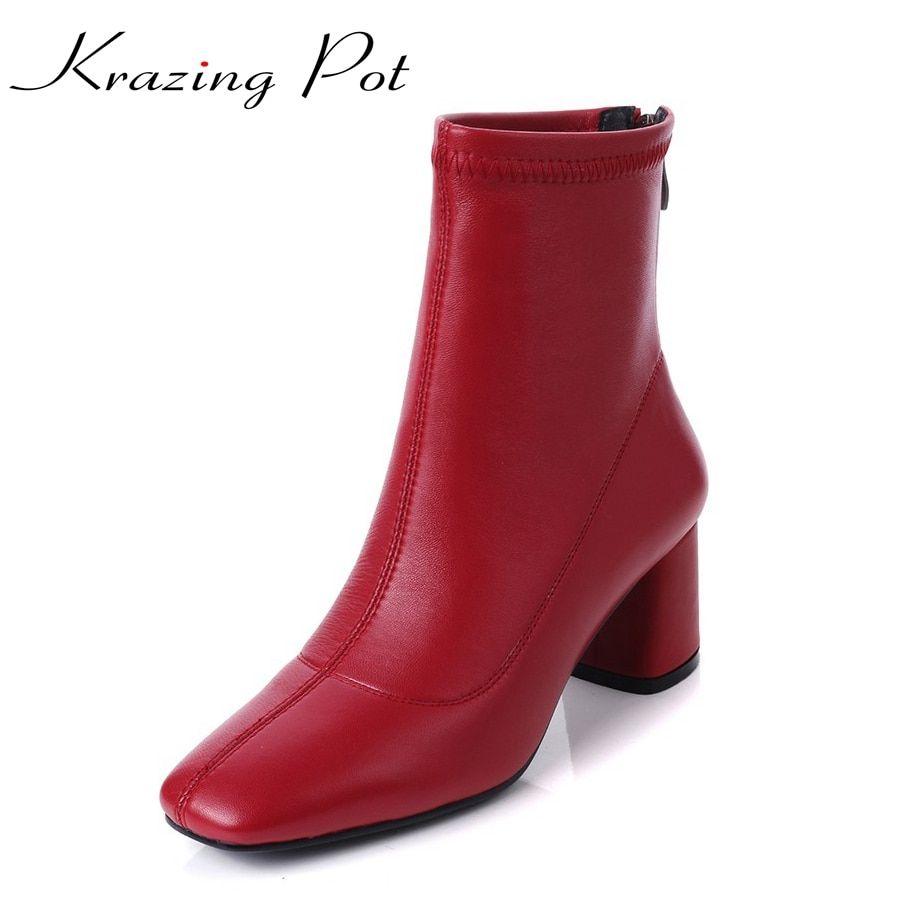 47f7da510319 Krazing Pot 2018 genuine leather vintage square toe thick high heels solid  women punk handsome superstar