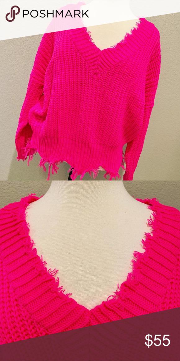 ed4d7c4e71 Neon fuchsia frayed edge sweater in S