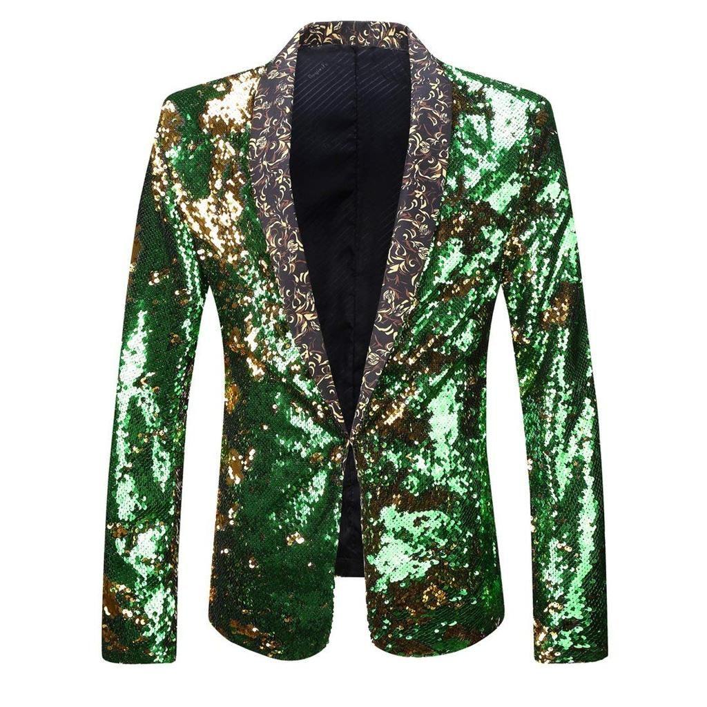 Men Stylish Two Color Conversion Shiny Sequins Blazer Suit Jacket Sequin Blazer Fashion Blazer [ 1024 x 1024 Pixel ]