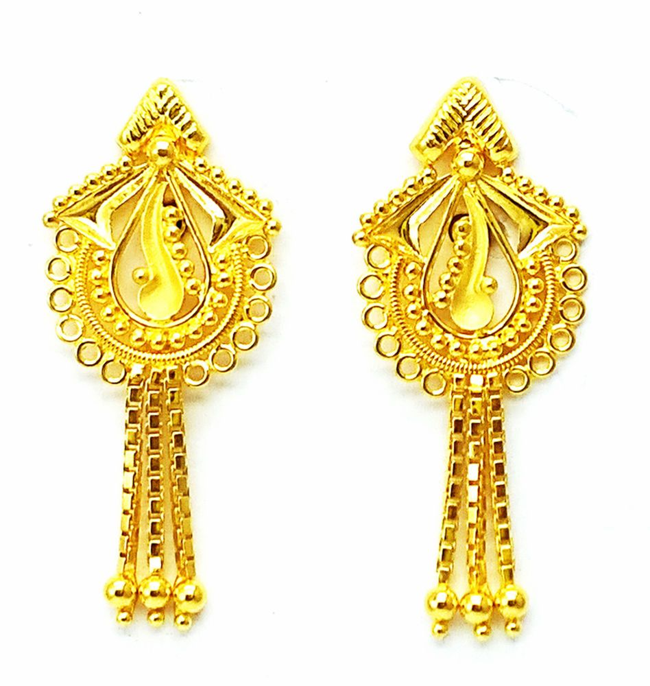 New Gold Earrings/Tops/Drops Handmade Design 22k 22ct (916 Pure ...