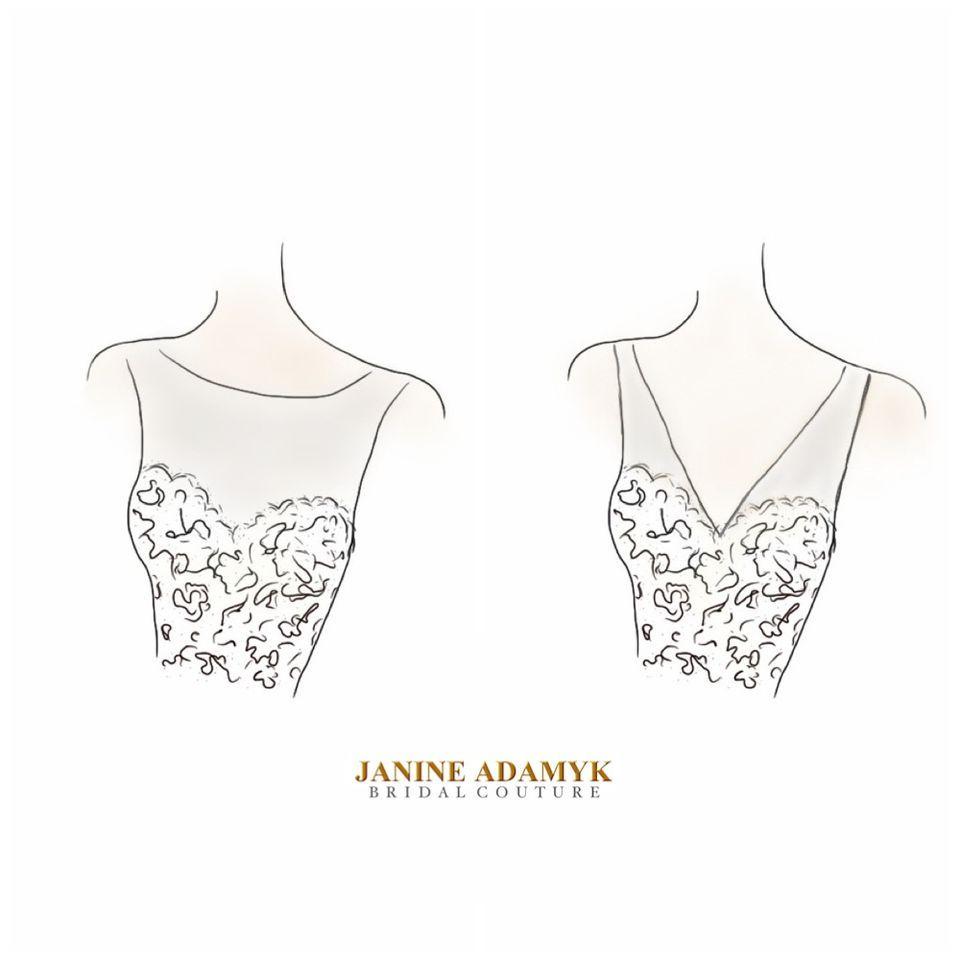 Lace With Illusion Neckline Sketch Sketch Template Illusion Neckline Chic Wedding Dresses Lace