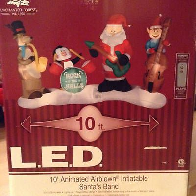 10' Long Animated Airblown Inflatable Santa's Band Lightshow | eBay