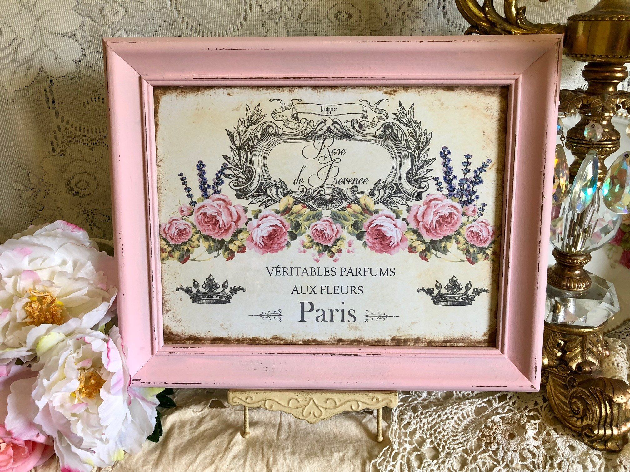 Shabby Chic Country Romantic Frame.Shabby Chic Framed Print Rose De Provence Paris French