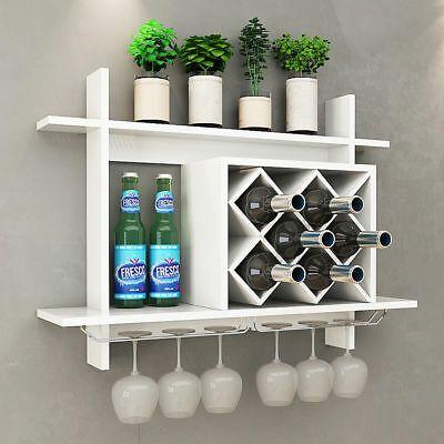 Wall Mount Wine Rack W Storage Shelf Glass Holder Organizer Home Decor White Wine Rack Wall Wine Rack Glass Holder Wine Rack Design