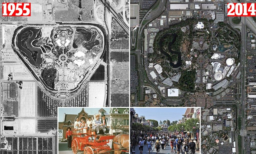 Aerial Images Chart How Disneyland Has Changed Over Years - 18 amazing rare colour photos disneyland 1955