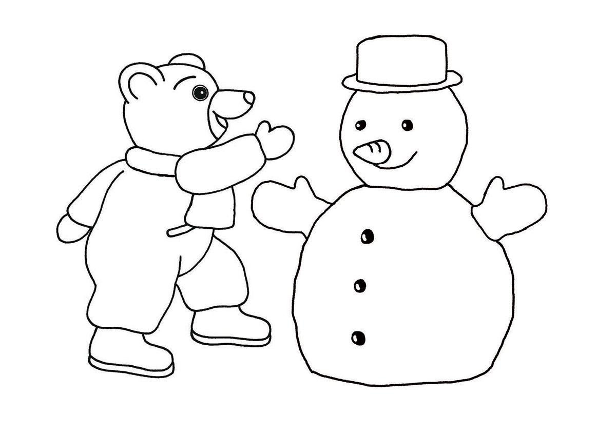Coloriages à imprimer - Hiver - Les activités, Coloriage   Petit ours brun