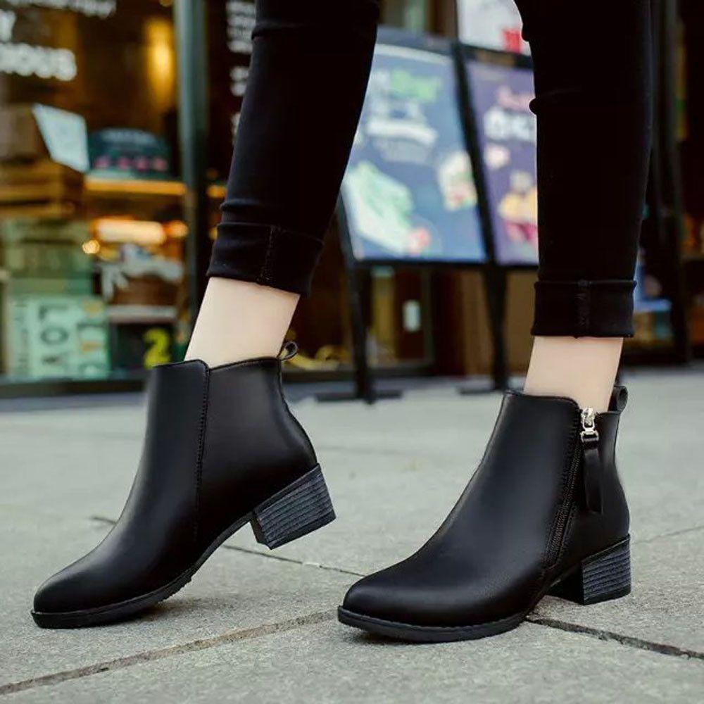 534f19542d3f Winter Women Shoes Vintage Ankle Boots Low Heel Velvet Leather Zipper Shoes  Lot