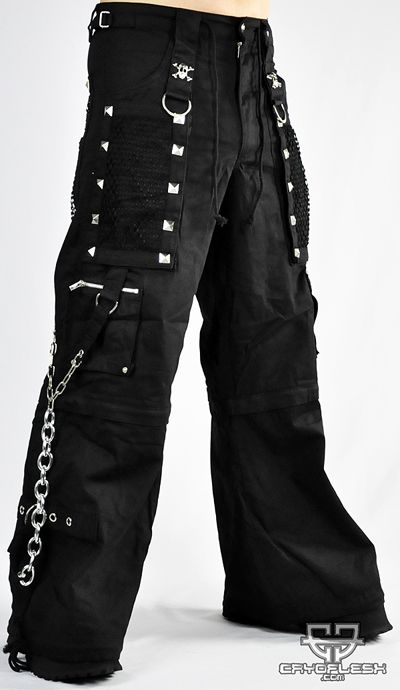 Edgy Goth Crescent Moon Cat Mans Short Pants Baggys