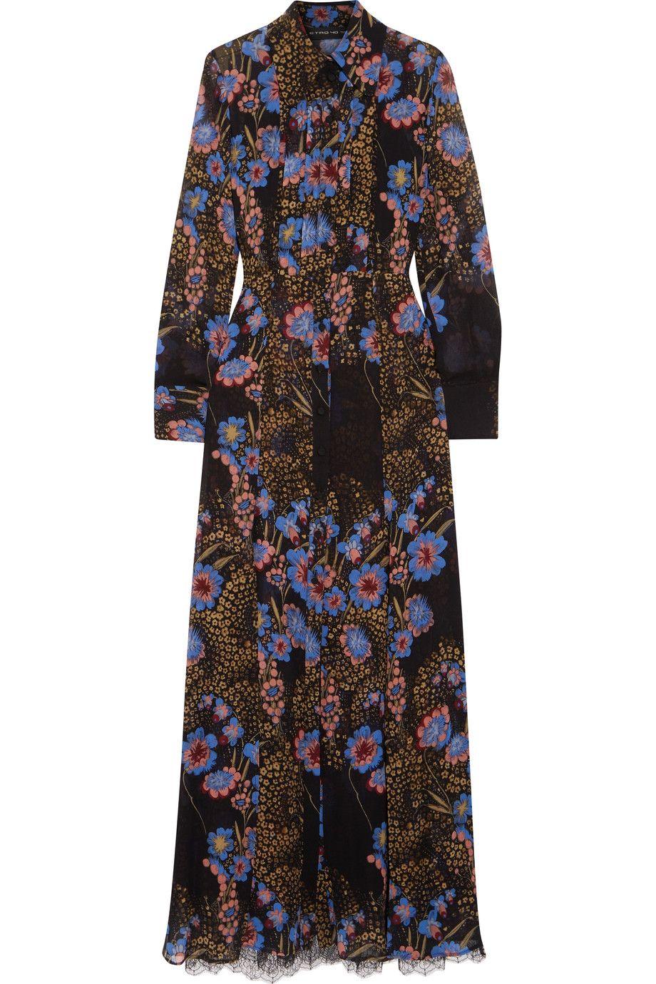 Lace And Printed Silk-chiffon Shirt And Dress Set - Black Etro DX1Jy86hxK