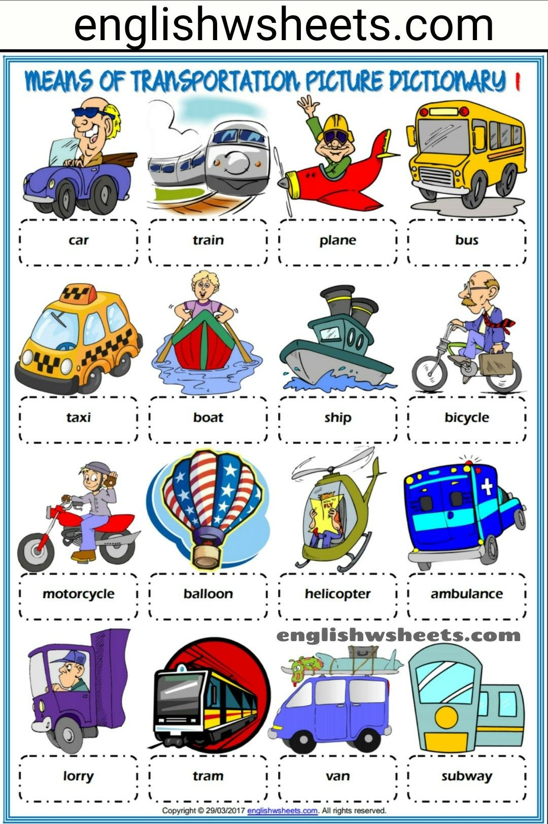 Means Of Transportation Esl Printable Picture Dictionaries