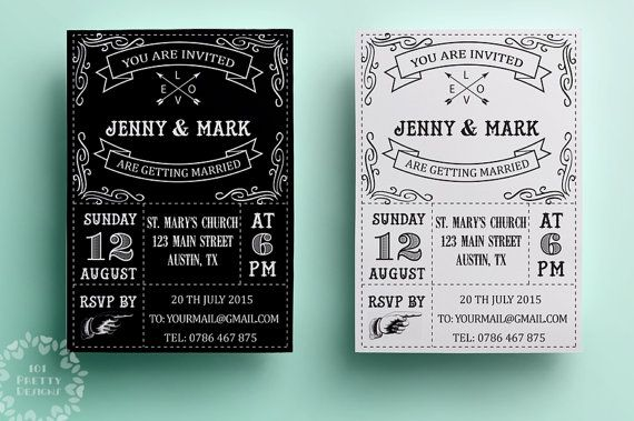Retro wedding invitation template, printable wedding invitation ...