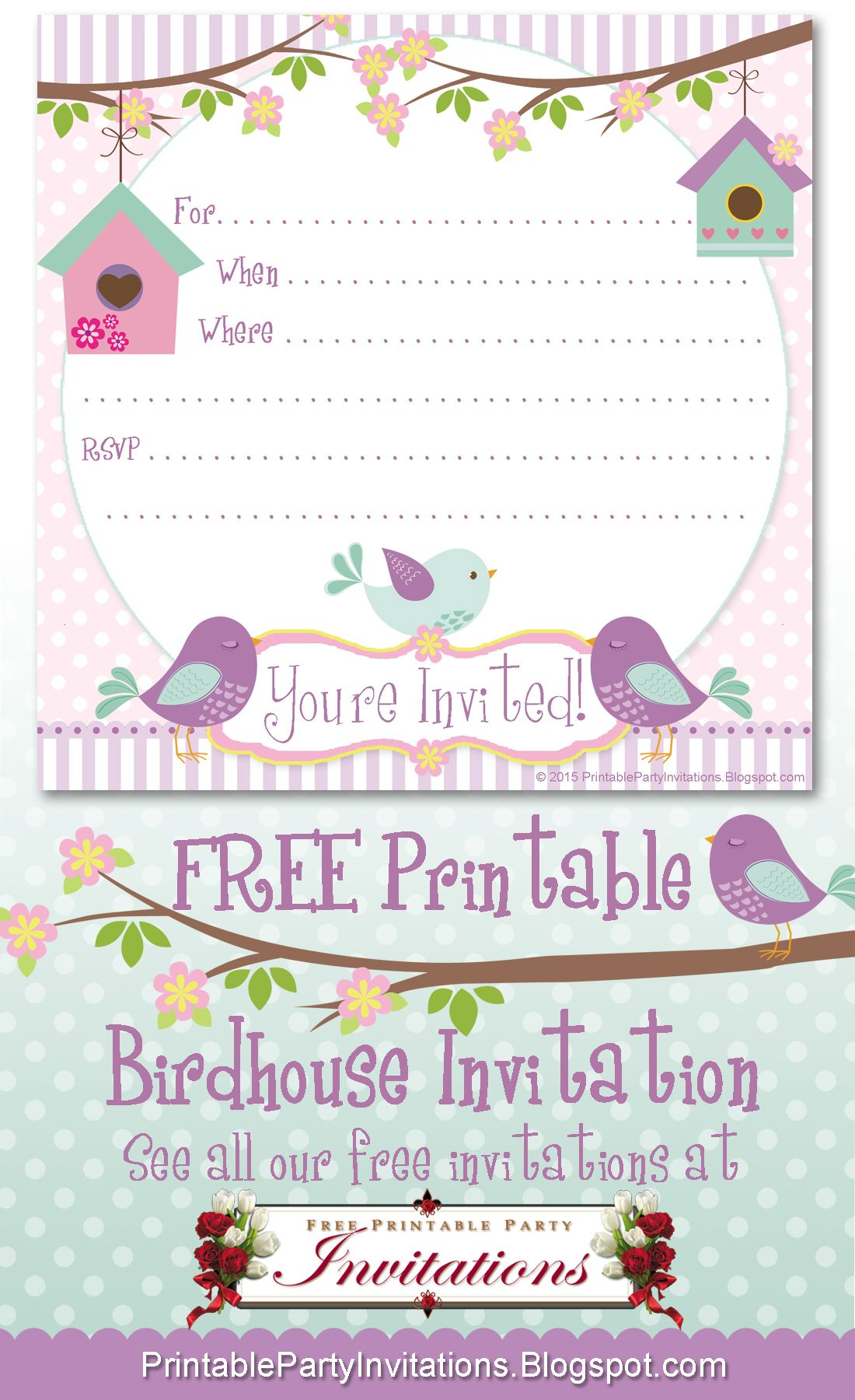 image about Free Printable Cards for All Occasions titled No cost Birdhouse All Bash Bash Invitation Social gathering