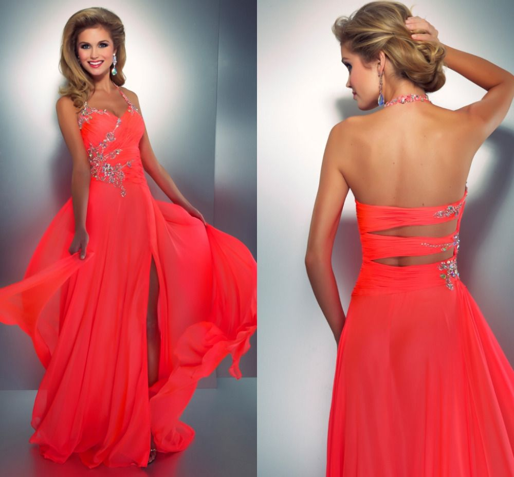 2014 Prom Dresses - Neon Coral Stone Embellished & Ruched Halter ...