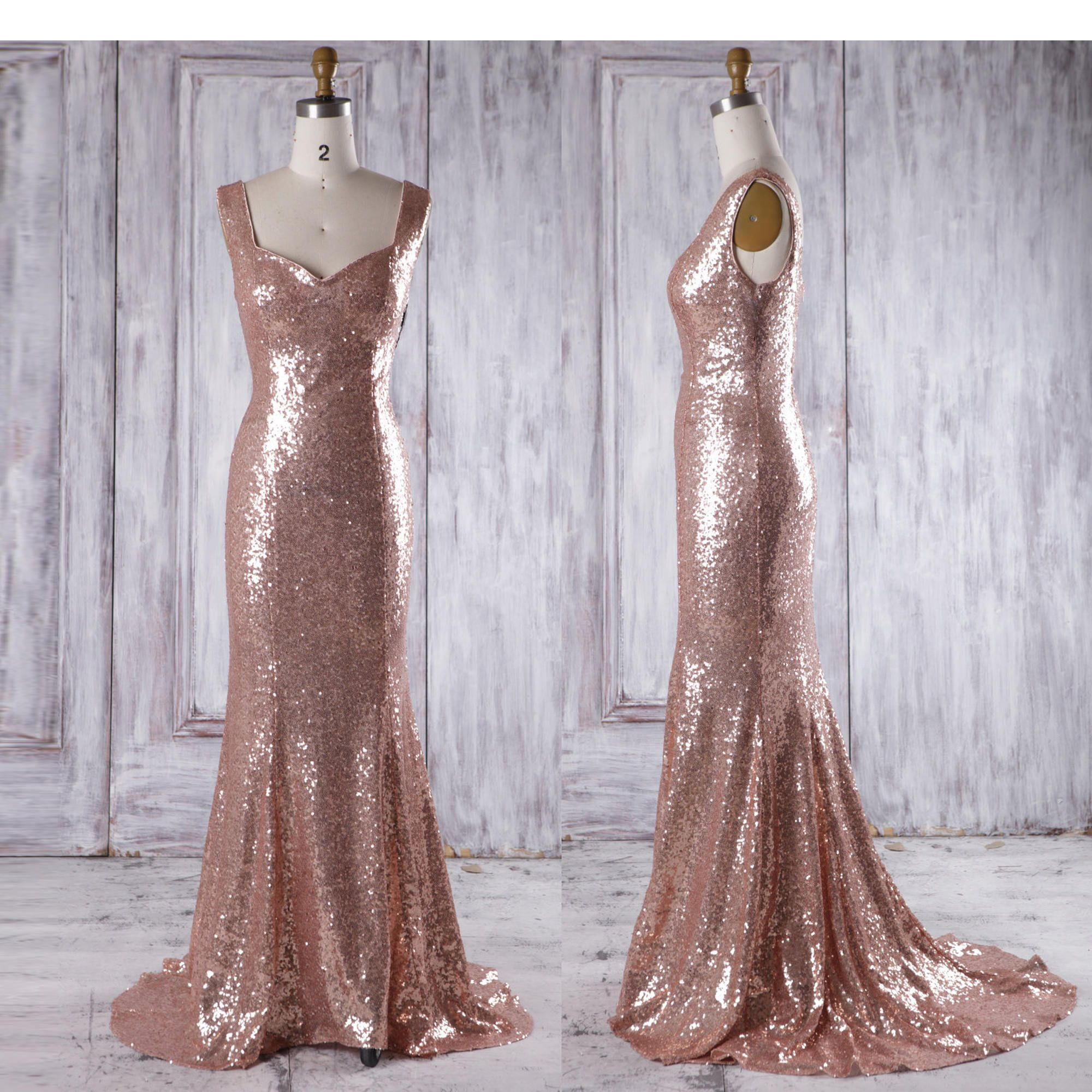 Bridesmaid Dress Rose Gold Long Evening Dress with TrainOpen ...