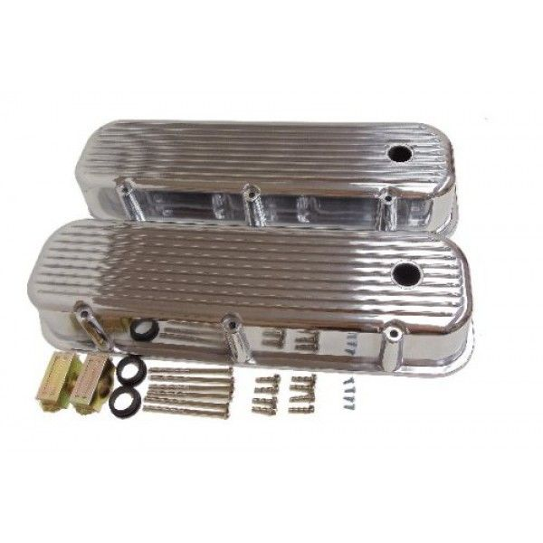 Pre 86 Bbc Big Block Chevy Tall Finned Polished Aluminum Valve Covers 396 502 Valve Cover Chevy Big Block