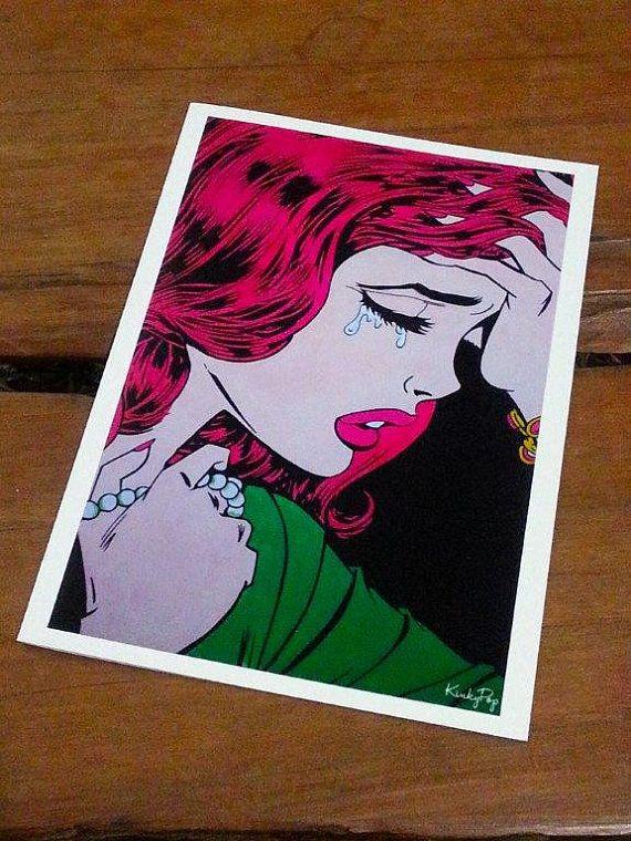 Olivia 1 5x7 inch greeting card by KinkyPop on Etsy
