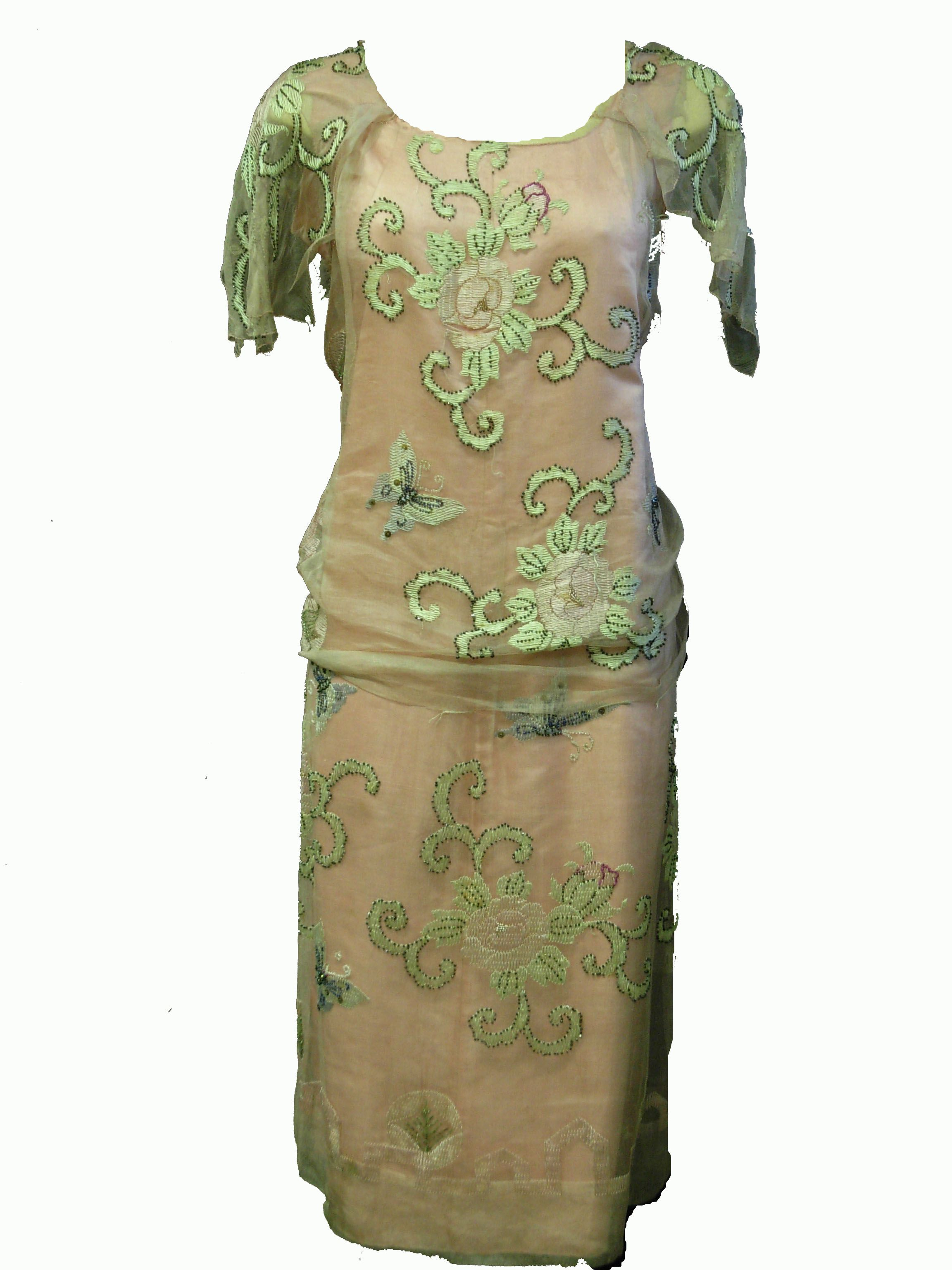 S sheer green an pink dress with growing rose embroidery