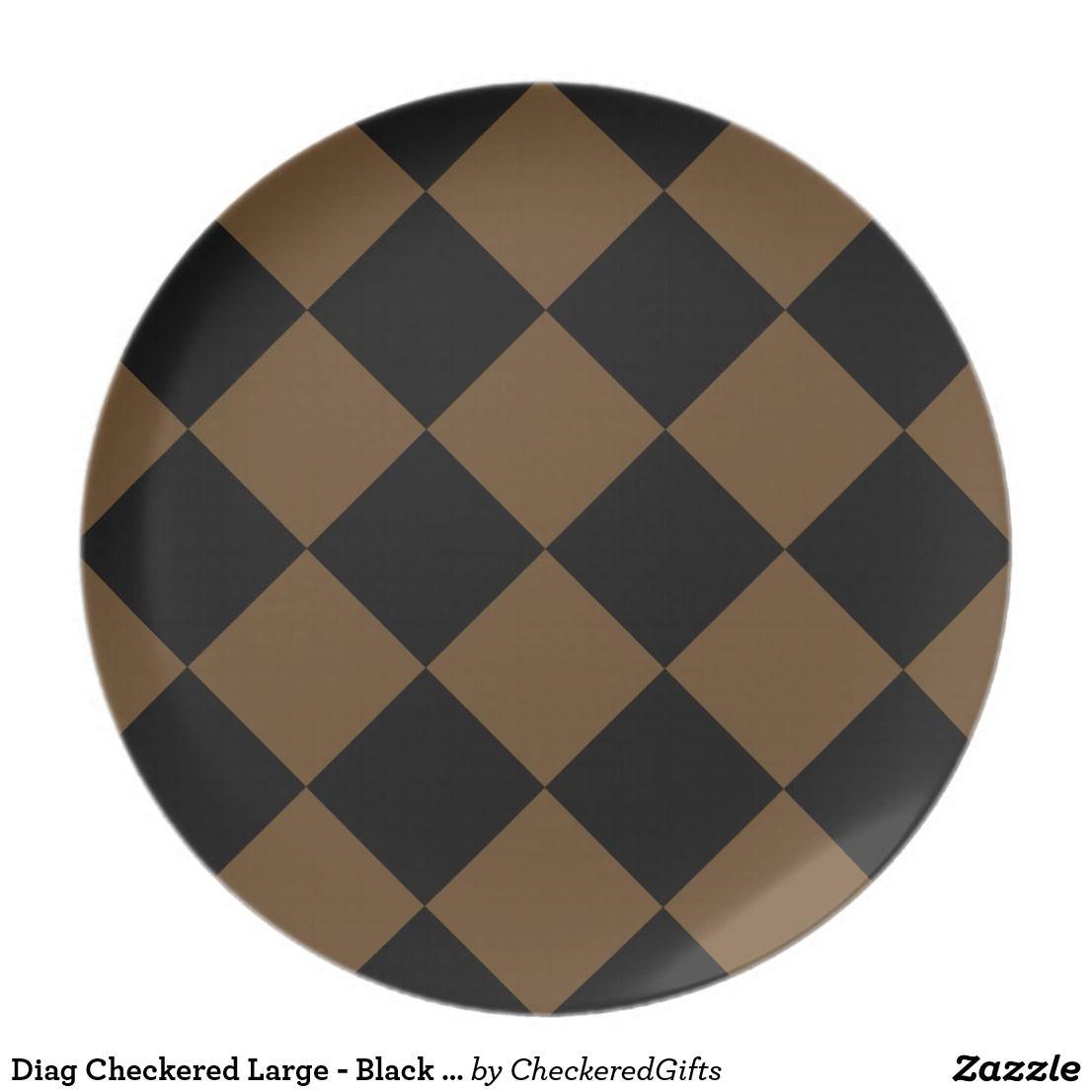 Diag Checkered Large Black And Dark Brown Melamine Plate Home Decor Color Melamine Plates Colorful Decor