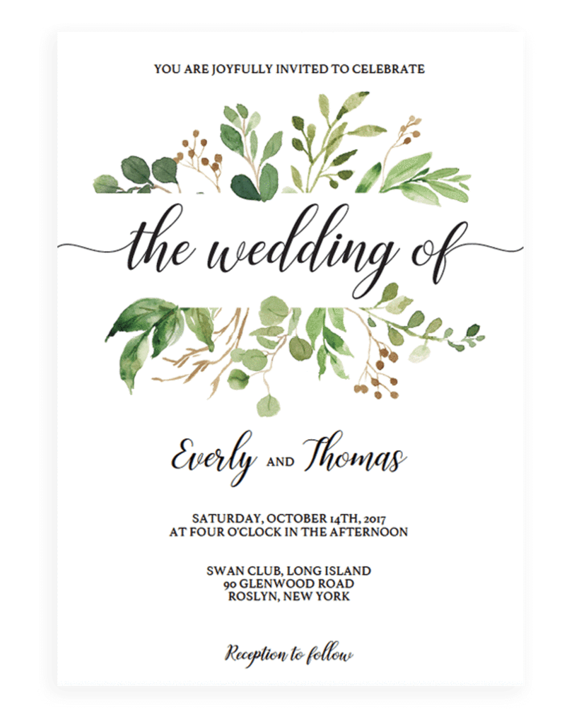 Green Leaves Watercolor Wedding Invitation Template Swedding