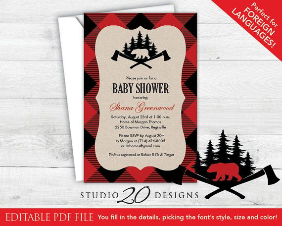 Instant Download Buffalo Plaid Baby Shower Invitations Editable Pdf