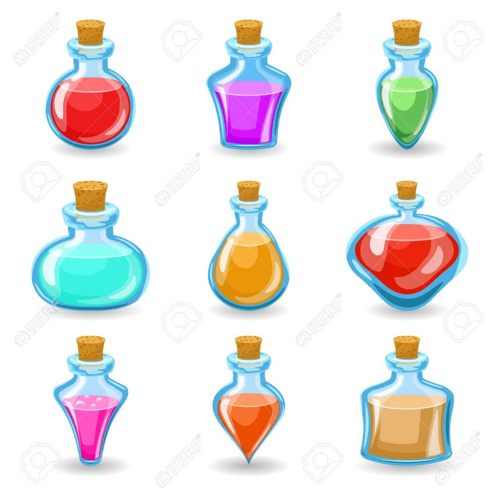 Bebidas Magicas Pociones Venenos Iconos Conjunto Aislado Ilustracion Vectorial De Diseno De Dibujos Animados Pociones Diseno De Dibujos Animados Dibujo De Joyeria