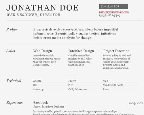 A Free HTML Resume Template Professional Resume Examples
