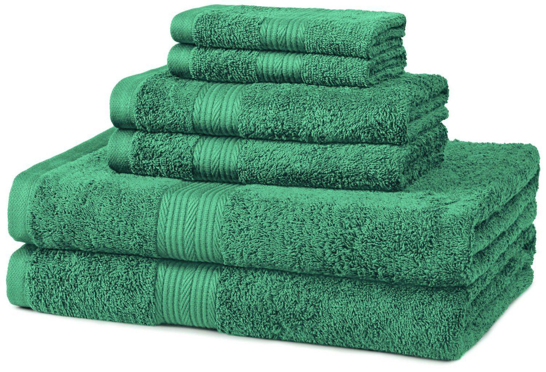 Fade Resistant 100 Percent Cotton 6 Piece Bathroom Bath Towel Set