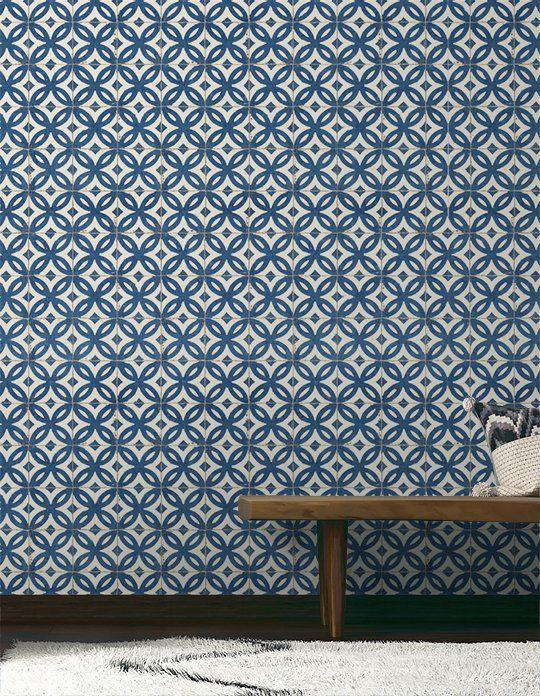 papier peint antique vinyle sur intiss motif carreaux de ciment bleu saint motif. Black Bedroom Furniture Sets. Home Design Ideas