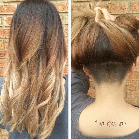 Hair coloring · undercut long hair woman