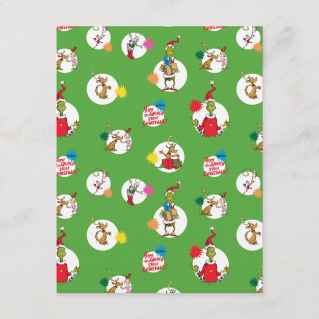 The Grinch | Christmas Dot Pattern Holiday Postcard ...