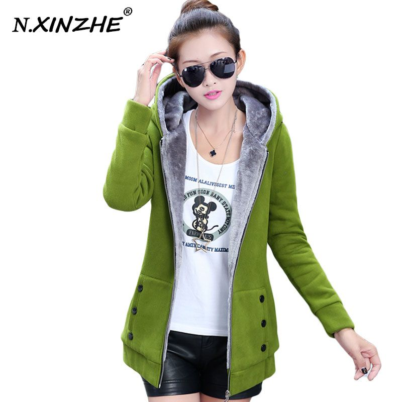N. XINZHE 재킷 여성 캐주얼 후드 코트 스포츠 후드 따뜻한 기본 재킷 코트 2017 봄 가을 플러스 사이즈 M-3XL