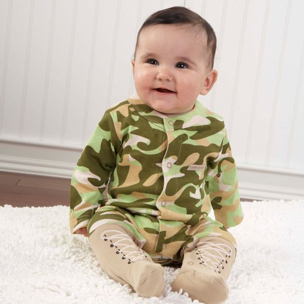 Baby Camo Two-Piece Layette Set in Backpack Gift Box