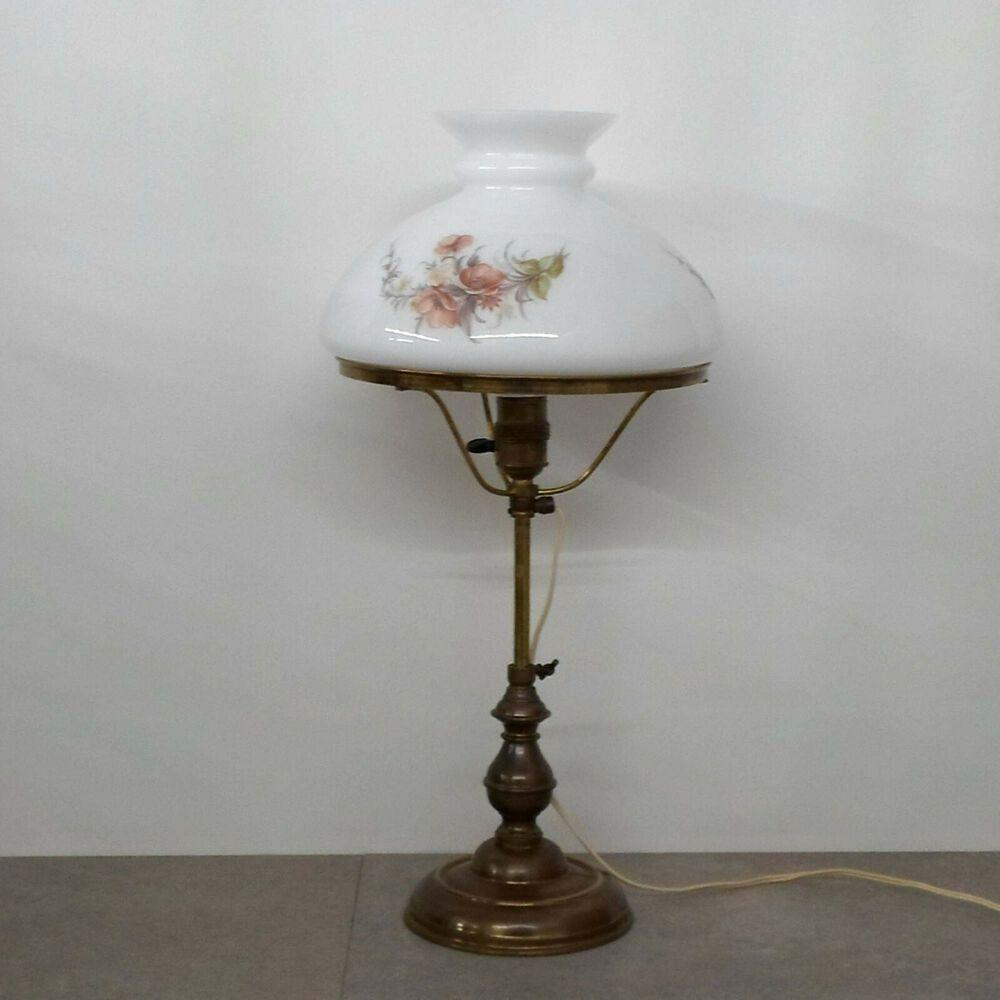 alte Lampe Messing Bronze Keramik Leuchter Tischlampe mit schönem Glasschirm