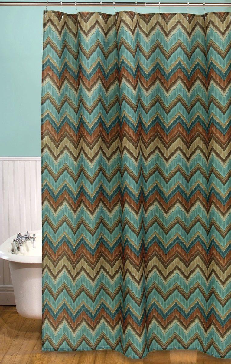Tribal Flamestitch Shower Curtain Western Shower Curtain Shower Curtain Western Decor