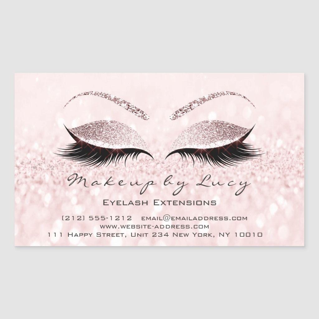 Eyelash Extension Makeup Beauty Salon Pink Glitter Rectangular