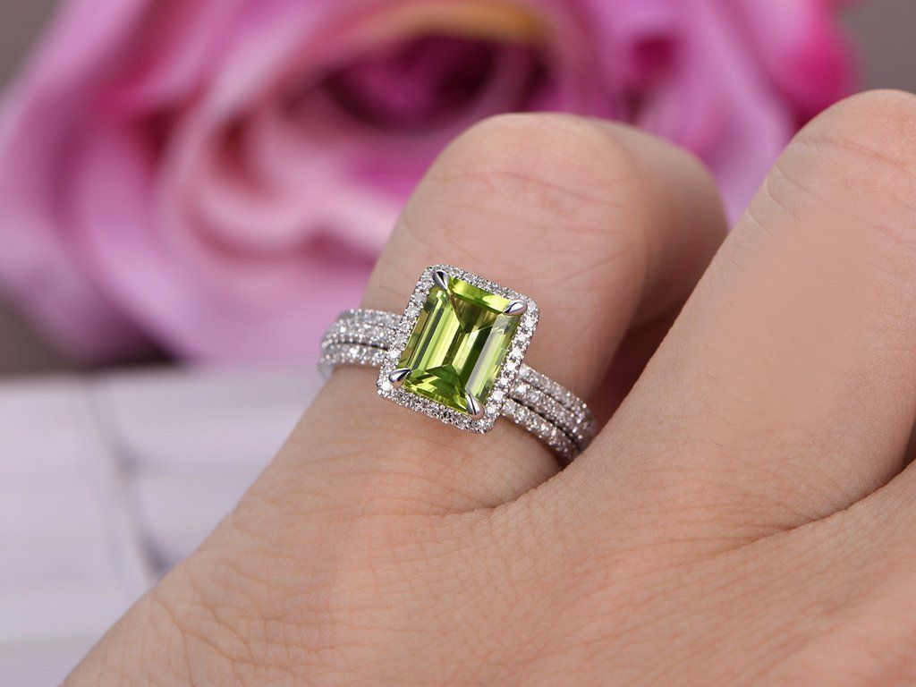 Emerald Cut Peridot Engagement Ring Bridal Trio Sets Pave Diamond ...
