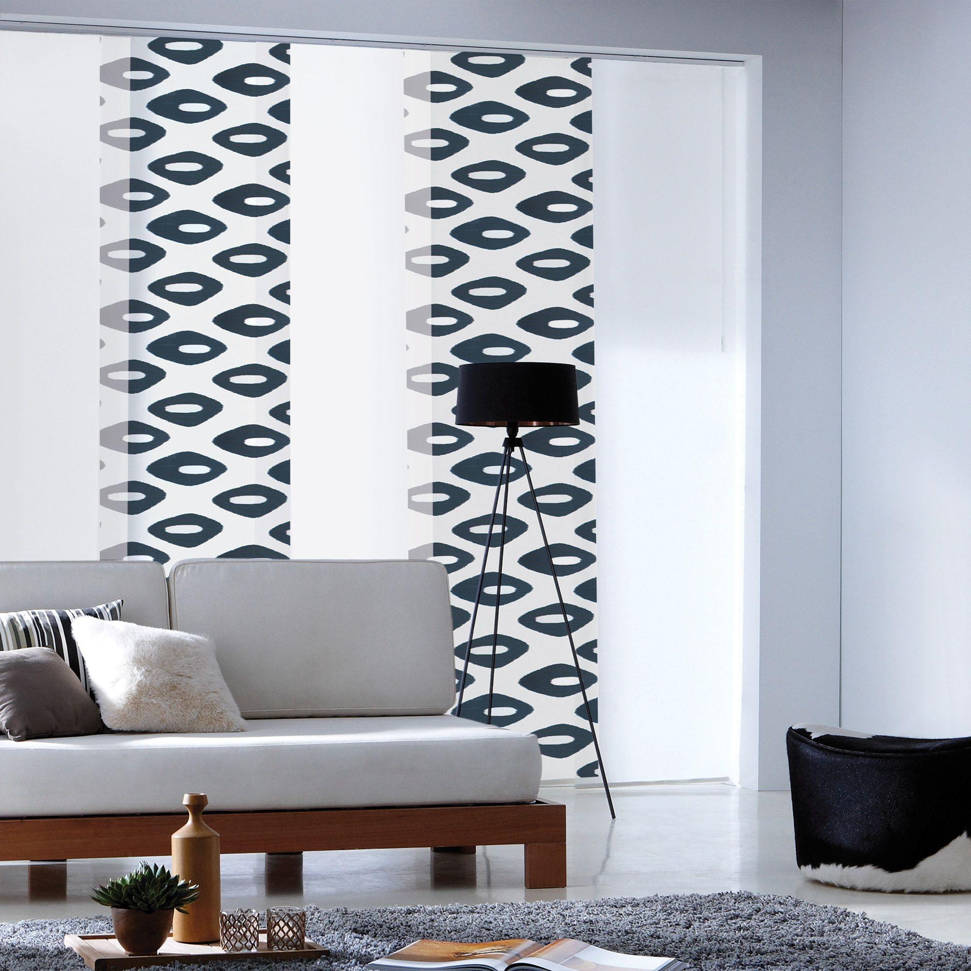 panneau japonais en polyester tamisant motif losange bleu blanc ikat marque madecostore. Black Bedroom Furniture Sets. Home Design Ideas