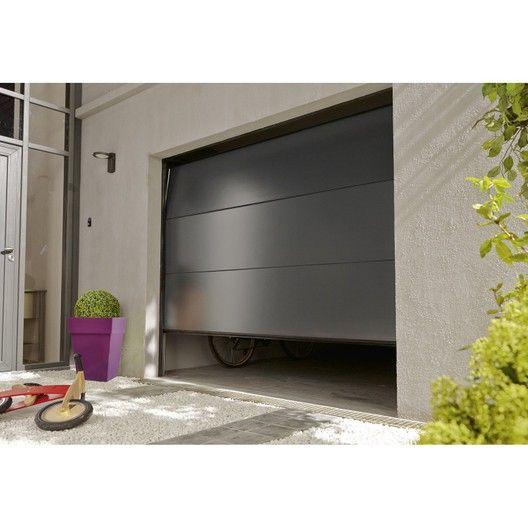 Porte De Garage Sectionnelle Motorisee Artens Essentiel H 200 X L 240 Cm Leroy Merlin Porte De Garage Sectionnelle Porte Garage Portes De Garage Moderne