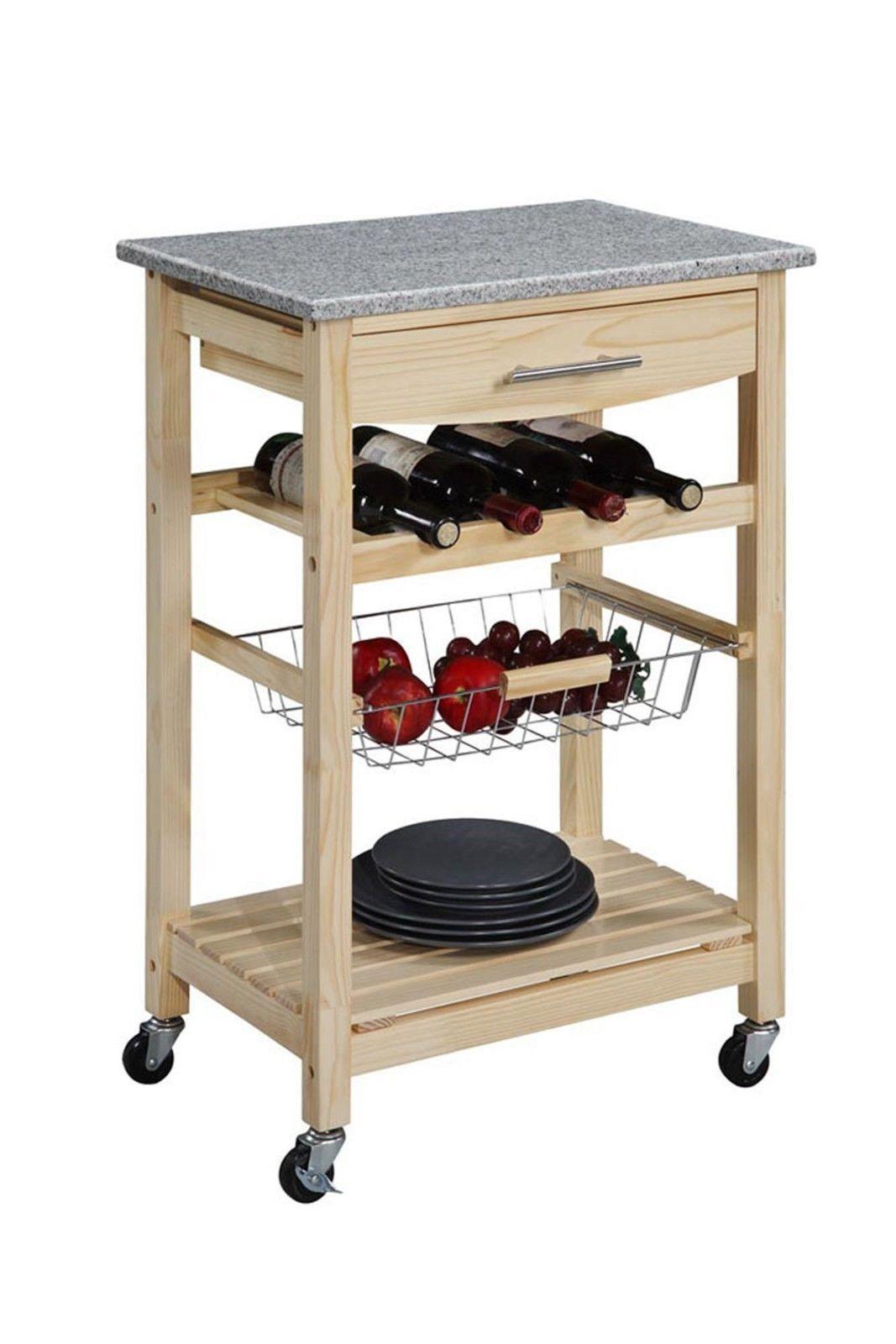 Wood Kitchen Cart | Wood Kitchen Trolley Cart Granite Top Rolling Storage Cabinet Dining