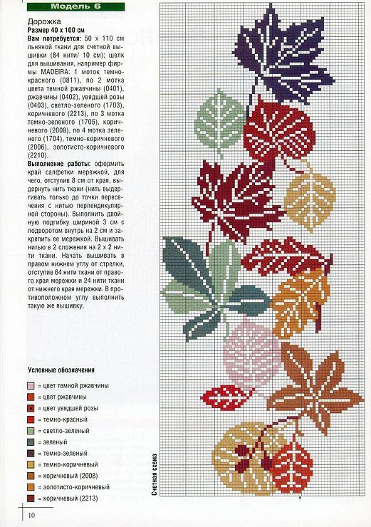 leaves   nakislar   Pinterest   Hoja, Punto de cruz y Puntos