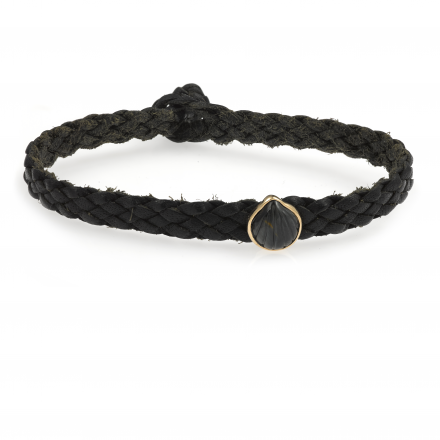 """Dezso """"Petite Anadara"""" bracelet made of 18-kt rose gold, pietersite and leather"""