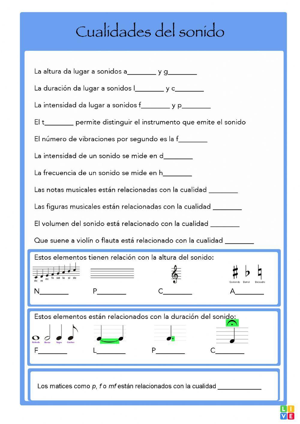 Cualidades Del Sonido Ficha Interactiva Y Descargable Puedes Hacer Los Ejercicios Online Cualidades Del Sonido Educacion Musical Clases De Música De Primaria