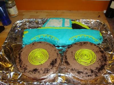 Monster Truck Cake To make this monster truck cake I made one 13 X